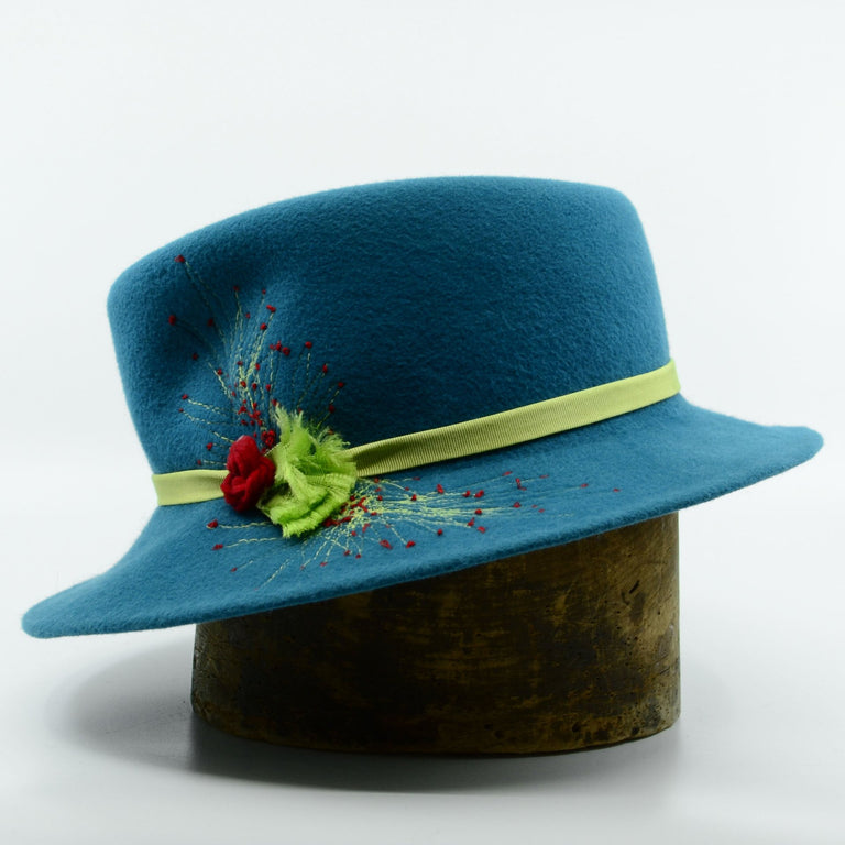 Lina Stein handmade teel velour fedora hat with free embroidery. Side-view. Photographer Sadhbh Kenny