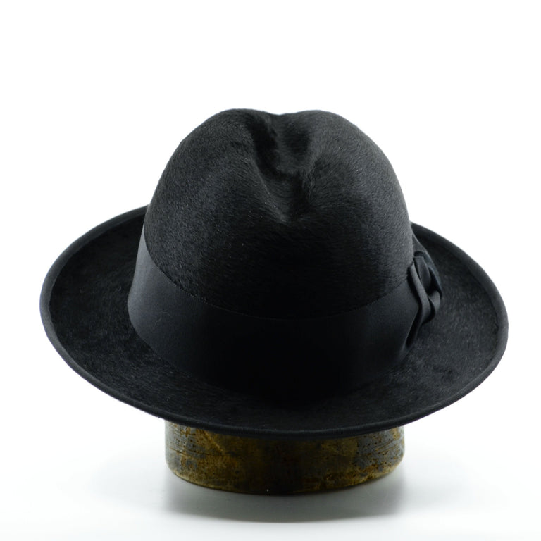 Lina Stein handmade black Homburg hat. Rear-view. Photographer Sadhbh Kenny