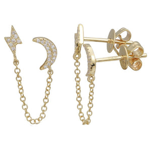 Light Bolt And Moon Diamond Double Stud Earrings (Single)