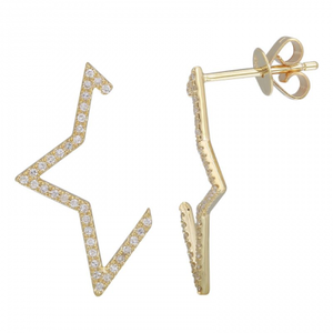 Pave Half Star Jenna Diamond Earrings