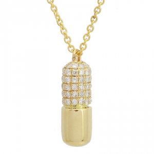 Diamond Pill Pendant with Chain