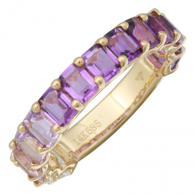 14k Gold Gemstone Purple Ombre Eternity Ring 3/4 Petite Emerald Cut
