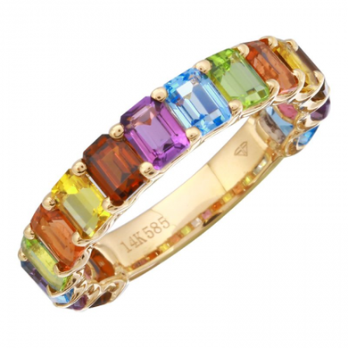 3/4 Gemstone Rainbow Ring Petite Emerald Cut