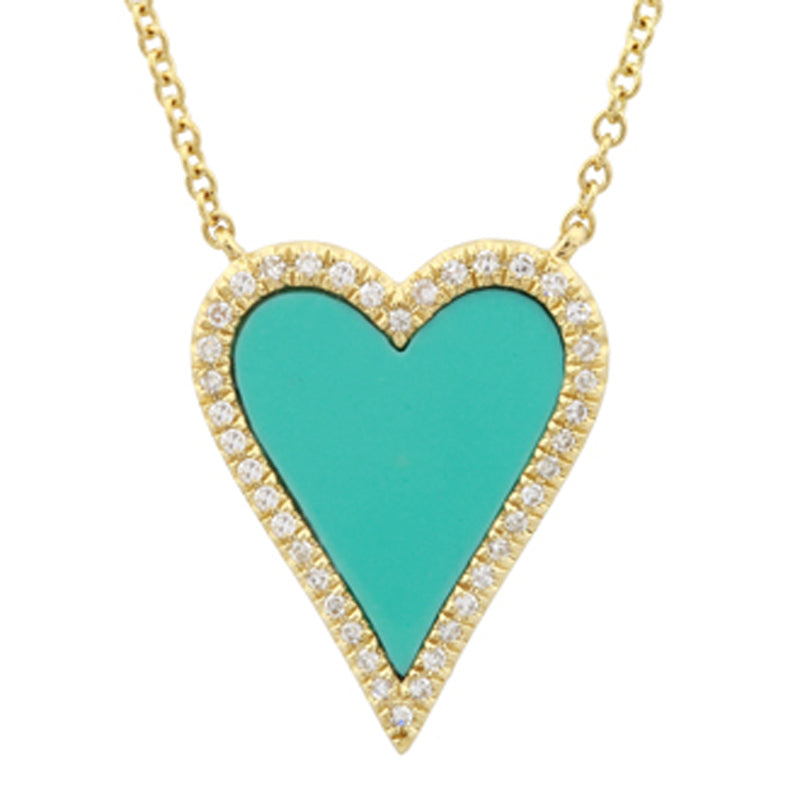 Elongated Heart Turquoise Necklace