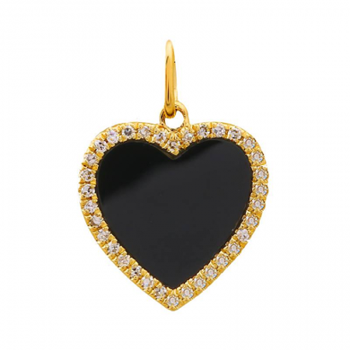 Diamond Onyx Heart Charm