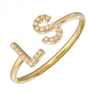 Diamond Initials Cuff Ring