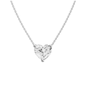 0.5ct Floating Diamond Solitaire Heart Necklace
