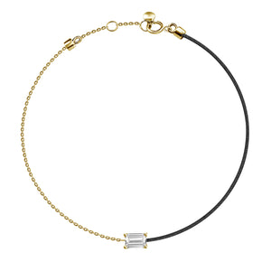 18k Fancy Diamond Chain/Silk Cord Bracelet