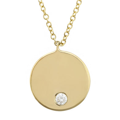 14k Classic Round Nameplate Necklace