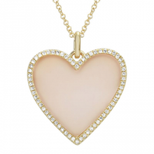 Load image into Gallery viewer, Mother Pearl Diamond Heart Necklace