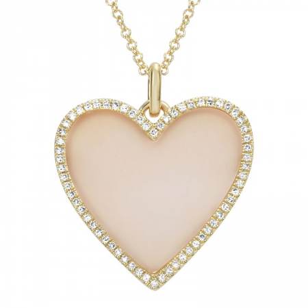 Mother Pearl Diamond Heart Necklace