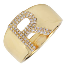 Load image into Gallery viewer, Signet Initial Diamond Ring