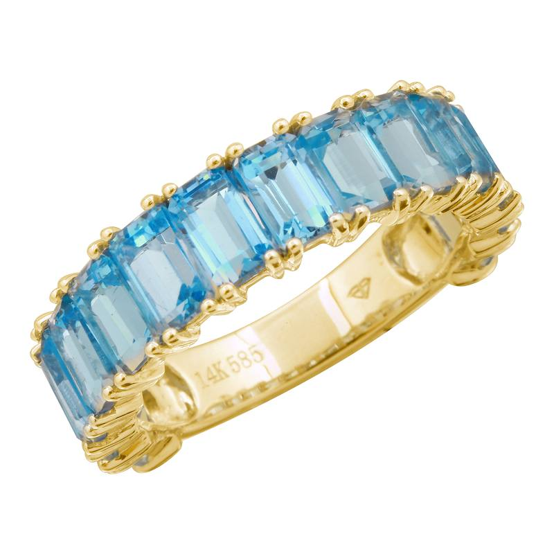 14k Gold Emerald Cut Blue Topaz 3/4 Band