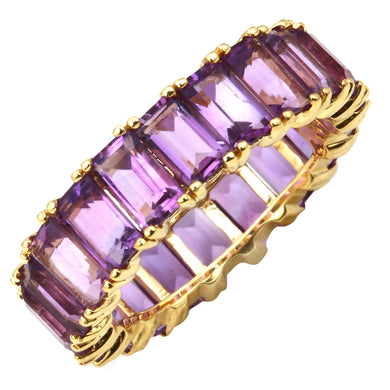 14k Gold Emerald Cut Amethyst Eternity Band