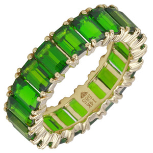 14k Gold Emerald Cut Chrome Diopside Eternity Band