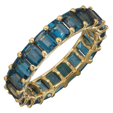 14k Gold Petite Emerald Cut London Blue Topaz Eternity Ring