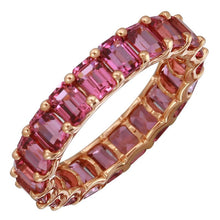 Load image into Gallery viewer, 14k Gold Petite Emerald Cut Rhodolite Eternity Ring