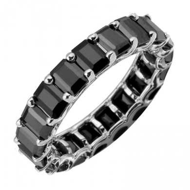 14k Black Spinel Petite Emerald Cut Full Eternity Ring