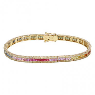 Rainbow & Diamond Tennis Bracelet