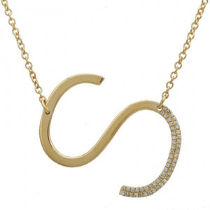 Large Pave and Gold Initial Necklace