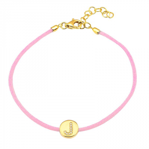14k Gold Pave Initial Disc Cord Bracelet