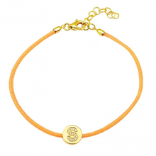 Load image into Gallery viewer, 14k Gold Pave Initial Disc Cord Bracelet
