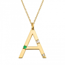 Load image into Gallery viewer, Emerald and Diamond Initial Necklace