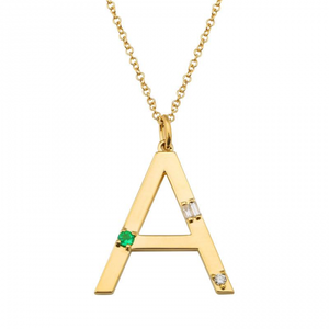 Emerald and Diamond Initial Necklace