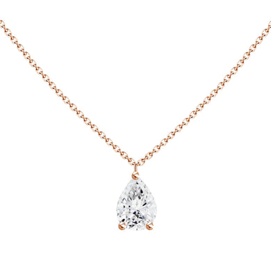 0.3ct Floating Pear Diamond Solitaire Heart Necklace
