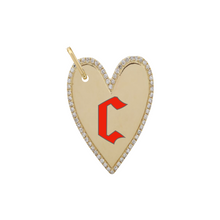 Load image into Gallery viewer, Enamel Initial Elongated Pave Outline Heart Charm