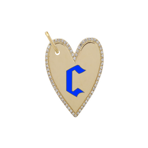 Enamel Initial Elongated Pave Outline Heart Charm