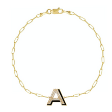 Load image into Gallery viewer, Diamond and Enamel Block Initial on Thin Paper Clip Chain Bracelet