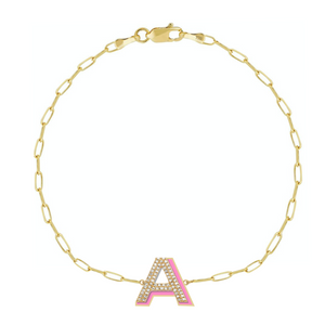 Diamond and Enamel Block Initial on Thin Paper Clip Chain Bracelet