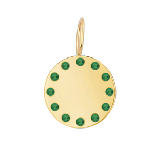 Gold Disc and Gemstones Charm