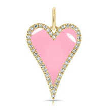 Load image into Gallery viewer, Diamond Outline Elongated Enamel Heart Charm
