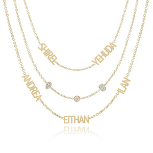 Mixed Shapes Blended Multiple Names Layered Necklace