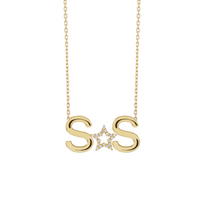 Load image into Gallery viewer, 2 Solid Initials and Middle Charm Custom Necklace