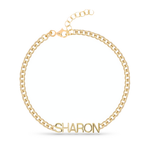 Custom Cuban Link Solid Gold Name Bracelet