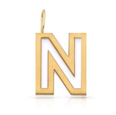 Large Cutout Solid Initial Charm