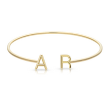 Load image into Gallery viewer, Solid Initials Thin Cuff Bangle