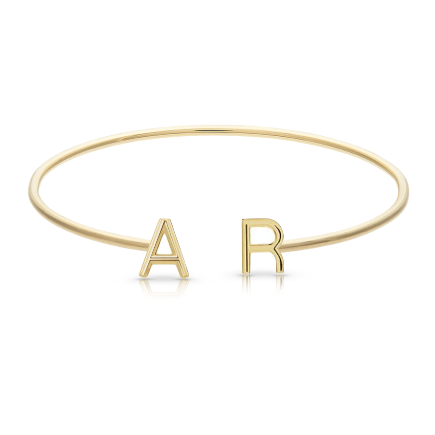 Solid Initials Thin Cuff Bangle