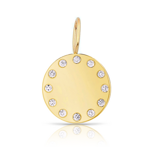 Gold Disc and Diamonds Charm