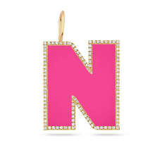 Load image into Gallery viewer, Pave Outline Jumbo Enamel Initial Charm