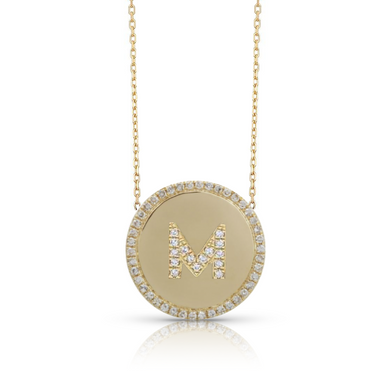 Custom Pave Outline Disc Charm Necklace