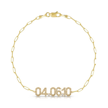 Load image into Gallery viewer, Diamond Date Bracelet on Thin Paperclip Chain