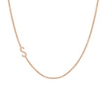 Load image into Gallery viewer, Diamond Asymmetrical Initial Necklace