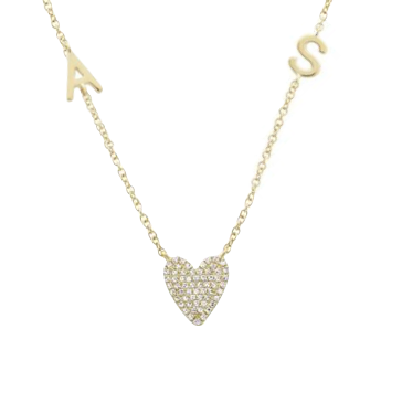 Pave Heart Couples Multiple Initials Necklace