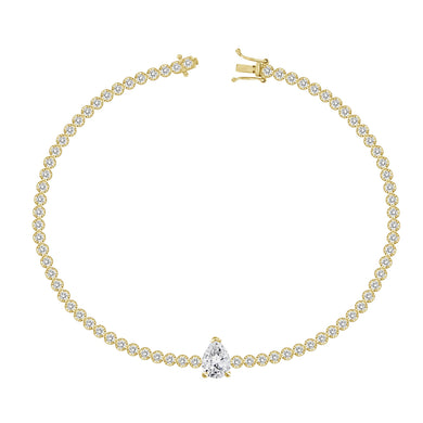 Statement Diamond on Mini Tennis Bracelet