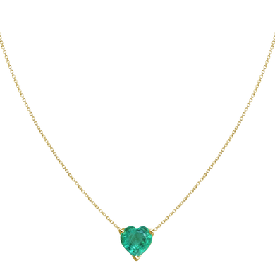 1.07ct Diamond Solitaire Emerald Heart Necklace