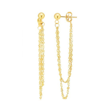 14k Bead Chain Drop Earrings